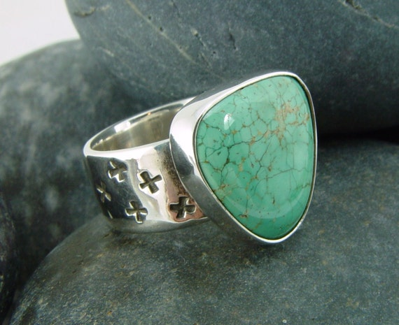Hachita Turquoise on Silver Star-Cross Shank- Size 6 1/2 - Natural  New Mexico Turquoise from the Bootheel