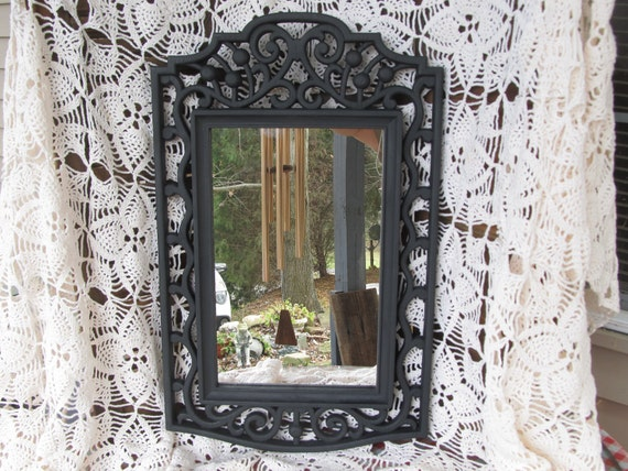 Ornate Black Mirror, French Country, Country Cottage, Upcycled, Zebra, Liopard, Gothic