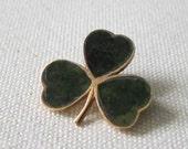 Shamrock Pin. 9K Gold and Connemara Marble. Vintage Irish.