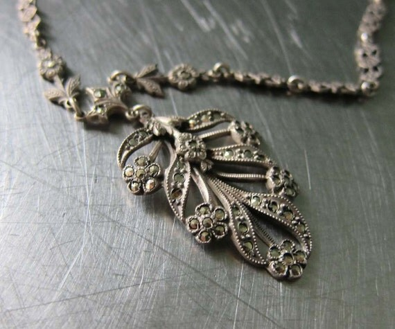 Art Deco Necklace Sterling Silver Marcasite Floral and Leaf