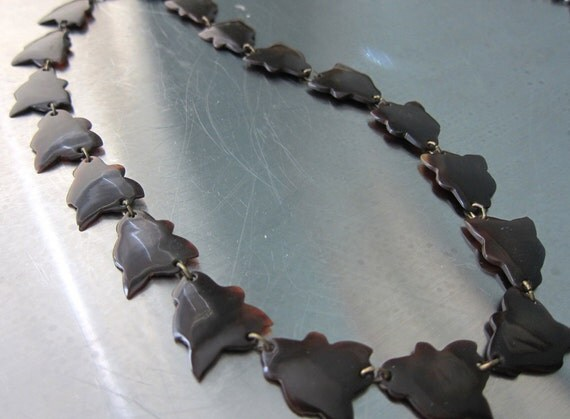 RESERVED for Vicki. Victorian Tortoise Shell Necklace Stunning Stylized Leaves on SALE