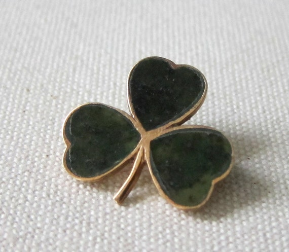 Shamrock Pin 9k Gold And Connemara Marble Vintage Irish