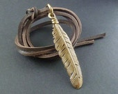 Feather Necklace Bronze Feather Pendant on Leather