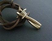 Punk Rock Necklace Bronze Barbed Wire Pendant on Leather