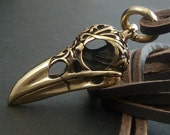 Bird Skull Raven Skull Necklace with Tribal Design - Bronze Pendant on Leather