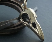 Bird Skull Necklace Bronze Raven Skull Pendant on Leather