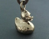 Rubber Duck Pendant Bronze Rubber Ducky Pendant on Leather
