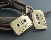 Cassettes Necklace Bronze Cassette Pendant on Leather - Mix Tapes