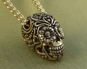 "Day of the Dead Necklace Bronze Sugar Skull Pendant on 24"" Gold Plated Chain"
