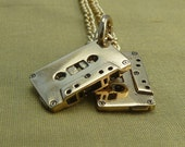 """Mix Tape Necklace Bronze Cassette Pendant on 24"""" Gold Plated Chain - Mix Tapes"""