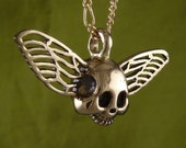 "Gothic Necklace Winged Skull Bronze Pendant on 18"" Gold Plated Filigree Chain"