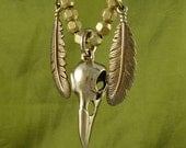 "Native American Necklace Raven Skull with Feathers Bronze Pendant on 20"" Antique Bronze Chain"