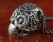 """Dia de Los Muertos Sugar Skull Necklace Antique Silver Day of the Dead Pendant on 32"""" Gunmetal Chain"""