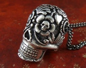 "Sugar Skull Necklace Antique Silver Sugar Skull Pendant Necklace on 24"" Gunmetal Chain"