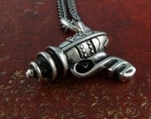 "Steampunk Gun Necklace Antique Silver Sci Fi Ray Gun on 24"" Gunmetal Chain"