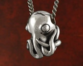 "Octopus Necklace Antique Silver Octopus Pendant on 24"" Gunmetal Chain - Octopus Jewelry"