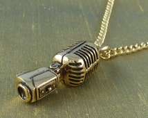 """Microphone Necklace Bronze Microphone Pendant on 24"""" Gold Plated Chain"""