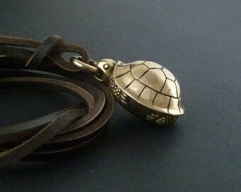 Turtle Necklace Bronze Turtle Pendant on Leather
