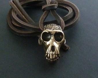 Monkey Pendant Bronze Monkey Skull Necklace on Leather