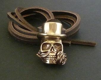 Steampunk Skull Bronze Voodoo Skull on Leather