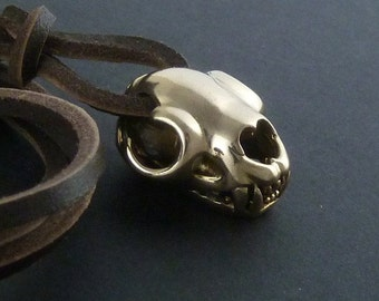 Lion Pendant Necklace Lion Skull Necklace Bronze Lion Skull Pendant on Leather