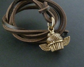 Cupcake Charm Pendant Necklace Bronze Flying Cupcake Pendant on Leather