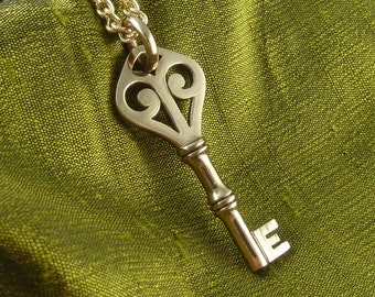 """Key Necklace Bronze Key Pendant on 24"""" Gold Plated Chain"""