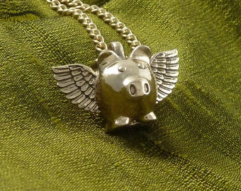 "Flying Pig Necklace Bronze Flying Pig Pendant on 24"" Gold Plated Chain"