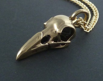 """Raven Skull Necklace Bronze Raven Skull Pendant on 24"""" Gold Plated Chain"""