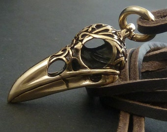 Skull Necklace for Men - Raven Skull Necklace, Bronze Skull on Leather