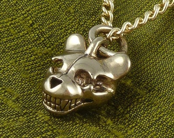 "Teddy Bear Skull Necklace Bronze Teddy Bear Pendant on 24"" Gold Plated Chain"