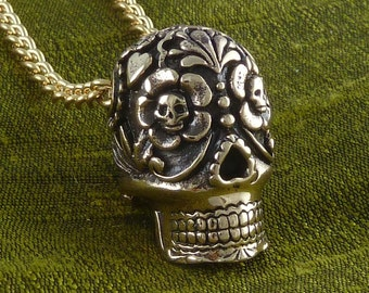 """Sugar Skull Necklace, Large - Bronze Sugar Skull Pendant on 24"""" Gold Plated Chain - Day of the Dead"""
