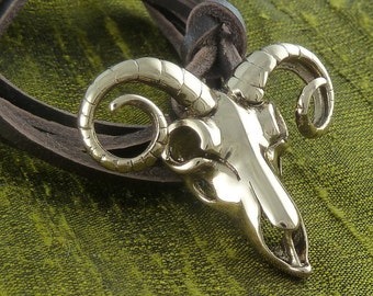 Ram Skull Necklace Bronze Ram Skull Pendant on Leather