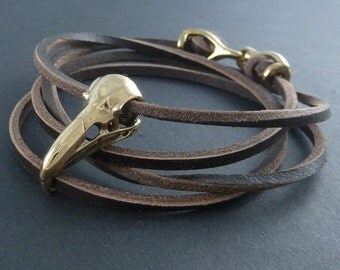 Bird Skull Bracelet Raven Skull Leather Bracelet - Bronze Skull on Leather Bracelet
