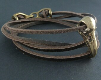 Leather Bracelet with Bird Skull Raven Skull in Bronze