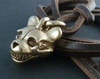Teddy Bear Necklace Bronze Teddy Bear Skull Pendant on Leather