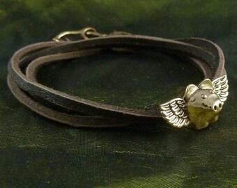 Flying Pig Bracelet - Bronze Flying Pig on Leather Bracelet