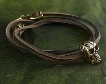 Skull Bracelet with Tribal Design - Bronze, on Leather