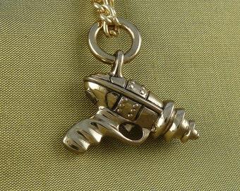 "Steampunk Gun Necklace - Bronze Ray Gun Pendant on 24"" Gold Plated Chain"