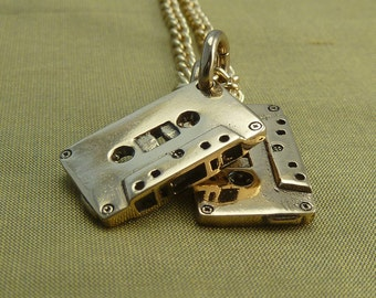 "Mix Tape Necklace Bronze Cassette Pendant on 24"" Gold Plated Chain - Mix Tapes"
