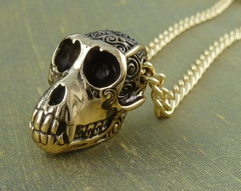 "Monkey Skull Necklace Bronze Monkey Skull Pendant on 24"" Gold Plated Chain"