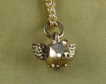 """Flying Pig Necklace Bronze Small Flying Pig Pendant on 24"""" Gold Plated Chain - When Pigs Fly"""