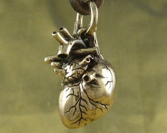 Human Heart Necklace - Bronze Anatomical Heart Pendant on Leather
