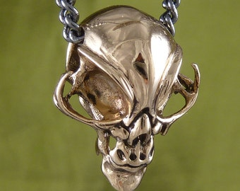 "Alien Necklace Alien Skull Necklace Bronze Alien Skull Pendant on 32"" Gunmetal Chain"