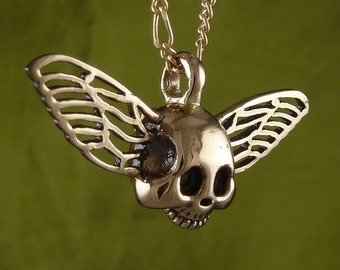 """Gothic Necklace Winged Skull Bronze Pendant on 18"""" Gold Plated Filigree Chain"""