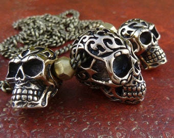 """Skull Necklace Bronze Tribal Skull Necklace on 24"""" Antique Bronze Chain"""