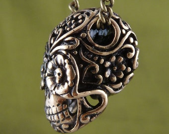 """Sugar Skull Necklace Day of the Dead Pendant on 24"""" Antique Bronze Chain"""