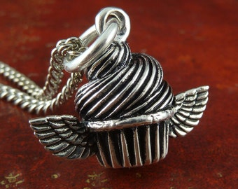 """Cupcake Necklace Winged Cupcake Antique Silver Pendant Necklace on 24"""" Antique Silver Chain"""