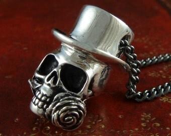 "Skull Necklace Antique Silver Steampunk Skull Pendant on 24"" Gunmetal Chain"