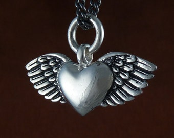 "Romantic Heart Necklace Antique Silver Flying Heart Pendant on 24"" Gunmetal Chain - Valentine's Day"